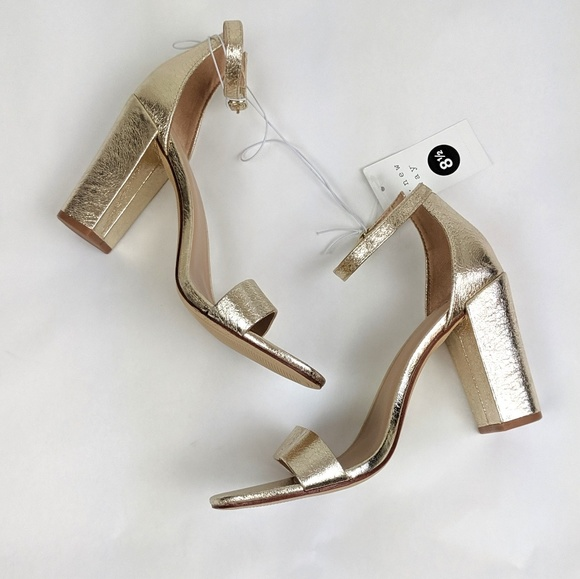 37dda87535 a new day Shoes | Gold Ema High Block Heel Pump Sandals | Poshmark